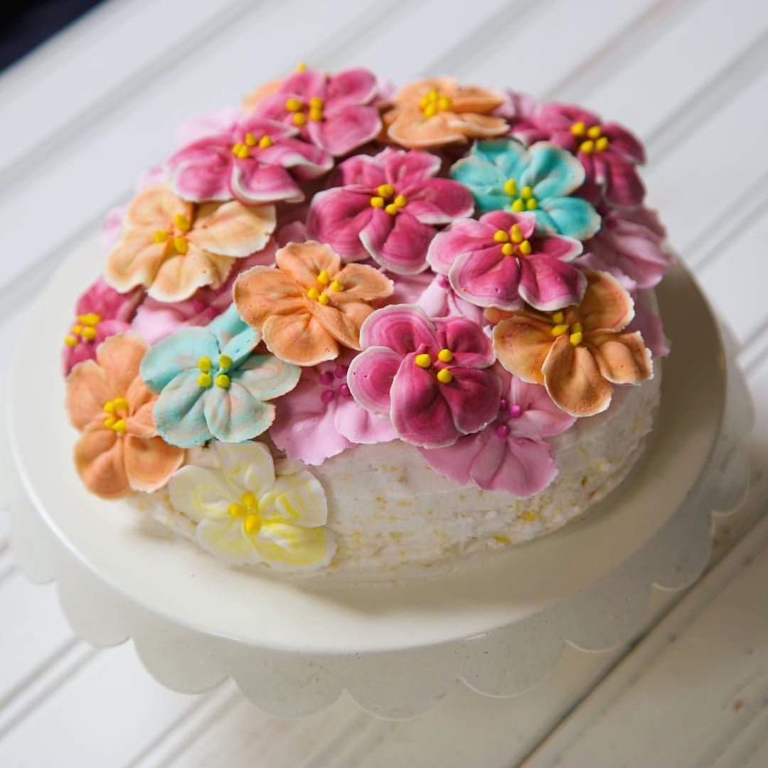 Cherry blossom cake royal icing flowers homemade with