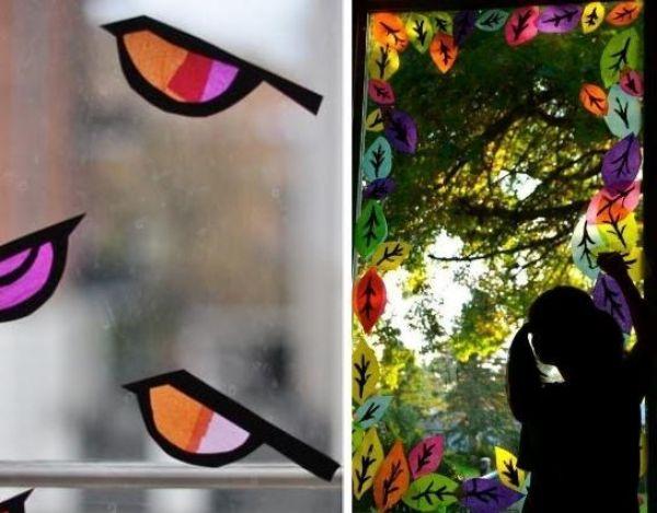 Mit Kindern Fensterbilder im Herbst basteln und malen #herbstbastelnmitkindernfensterbilder