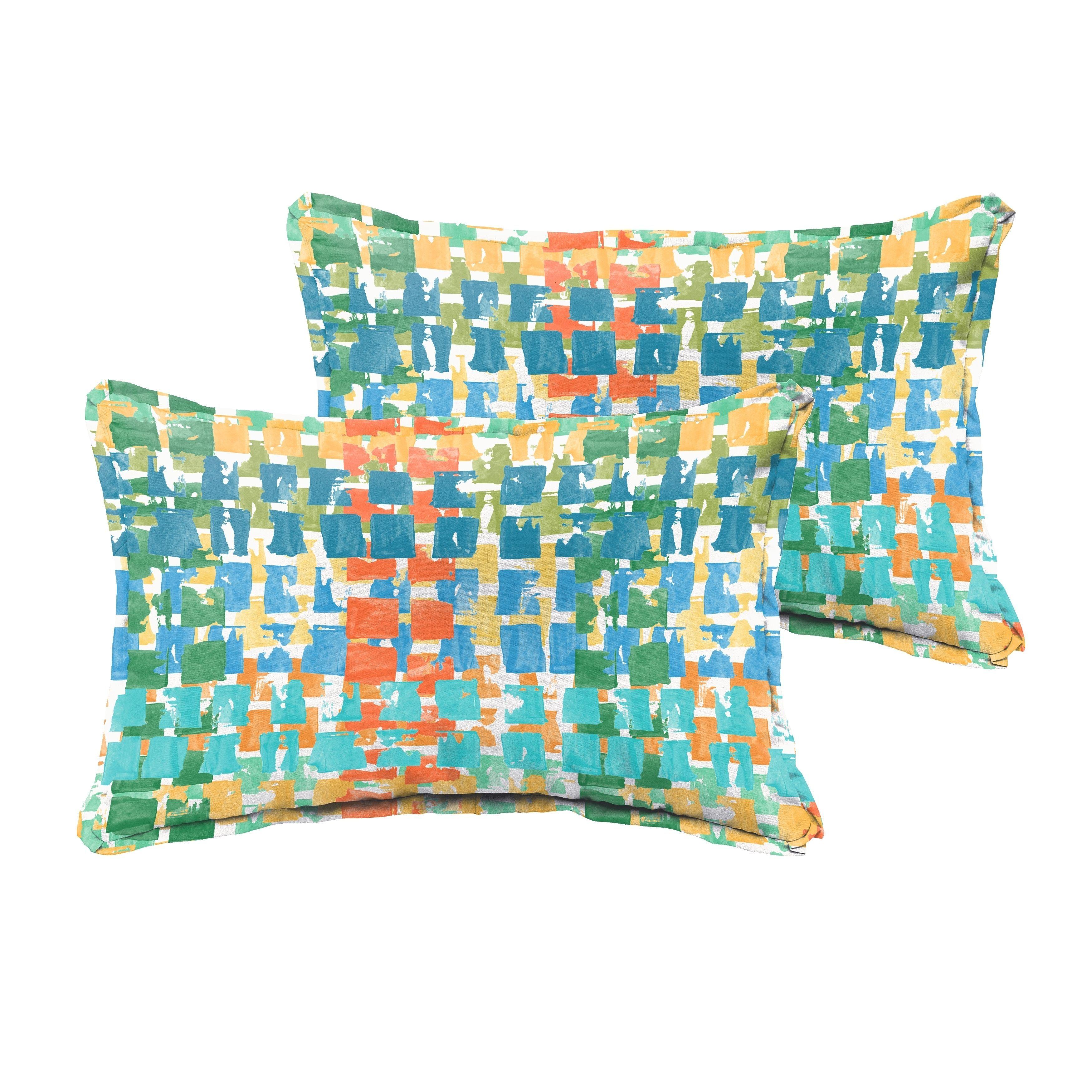 Selena Blue Green Squares Indoor/ Outdoor Flange Lumbar Pillows (Set of 2) (13 x 20) (Fabric), Outdoor Cushion