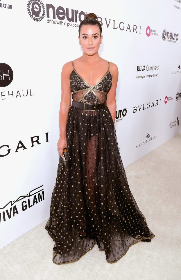 Glee Actress Lea Michele Was There To Support Elton Johns Foundation Red Carpet Party Dress Party Dresses 2017 Celebrity Gowns
