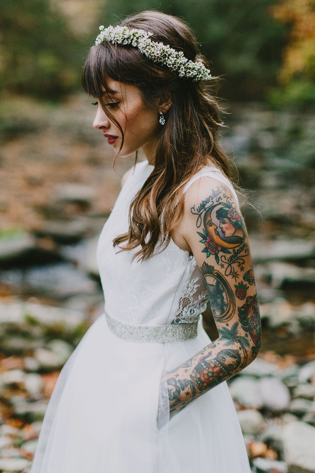 This wedding in the woods has a gorgeous tattooed bride for Tattoo wedding dress