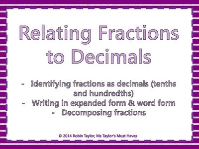 Relating Fractions To Decimals Powerpoint Worksheet Tenths