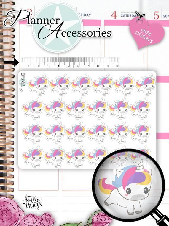 Cute Unicorn Planner Stickers - Kawaii Stationary - Hobonichi Sticker - Bujo Sticker - Character St