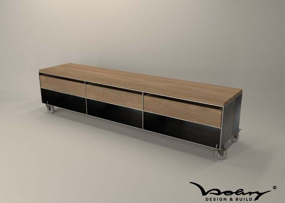 Design Kaminholz Sideboard Metallmoebel Brennholzaufbewahrung  Kaminholzaufbewahrung Aus Stahl Holz Eiche Stahlzart