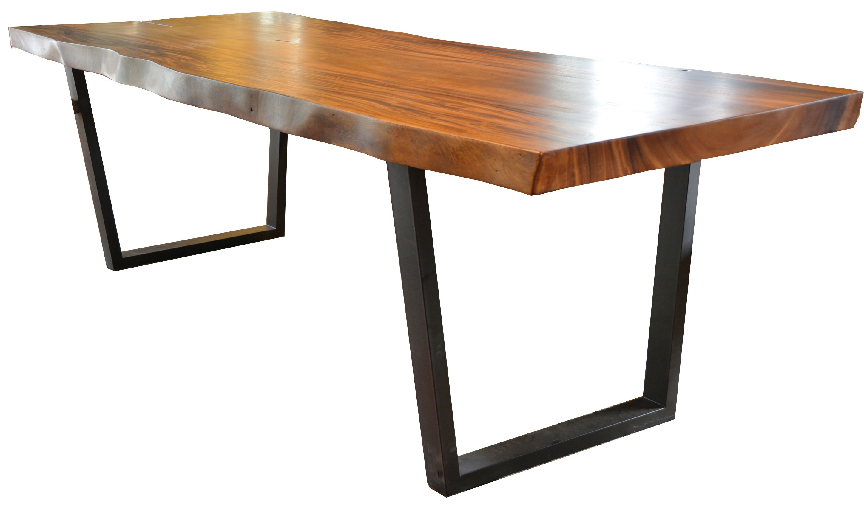 Live Edge Solid Suar wood slab Dining table with metal bases