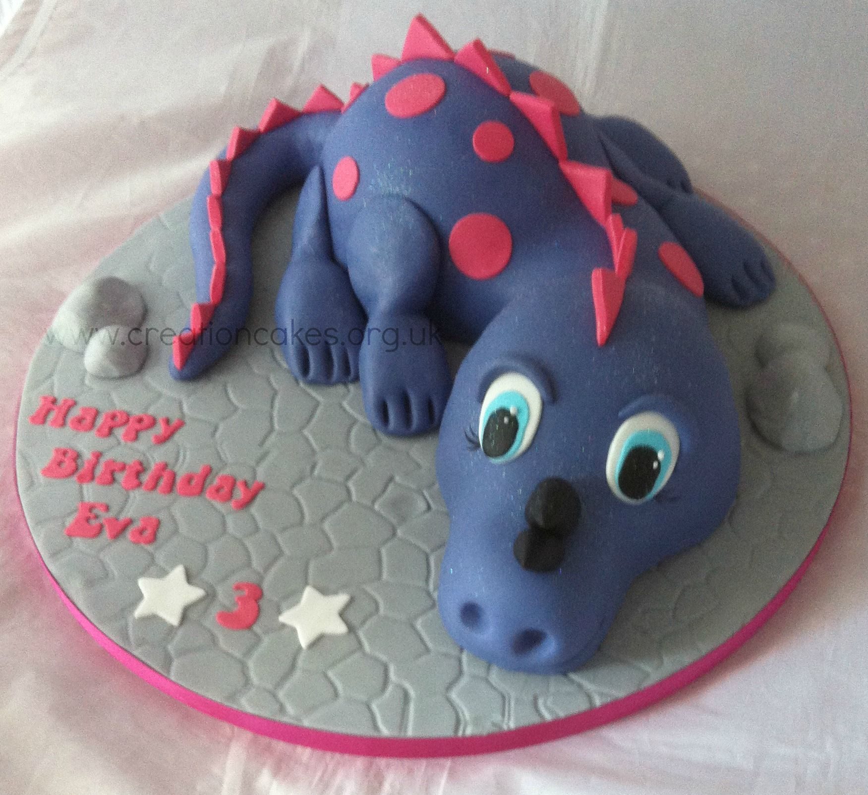Purple Dinosaur Birthday Cake