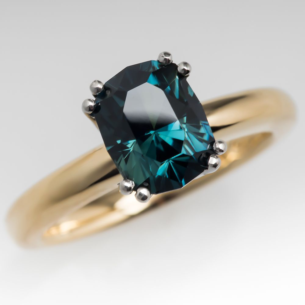 Handcrafted Black Sapphire Emerald Ring