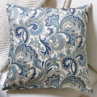Amazing Artisan Pillows Indoor 20 Inch Montero Lustrous Paisley In Porcelain Blue Accent  Throw Pillow Cover
