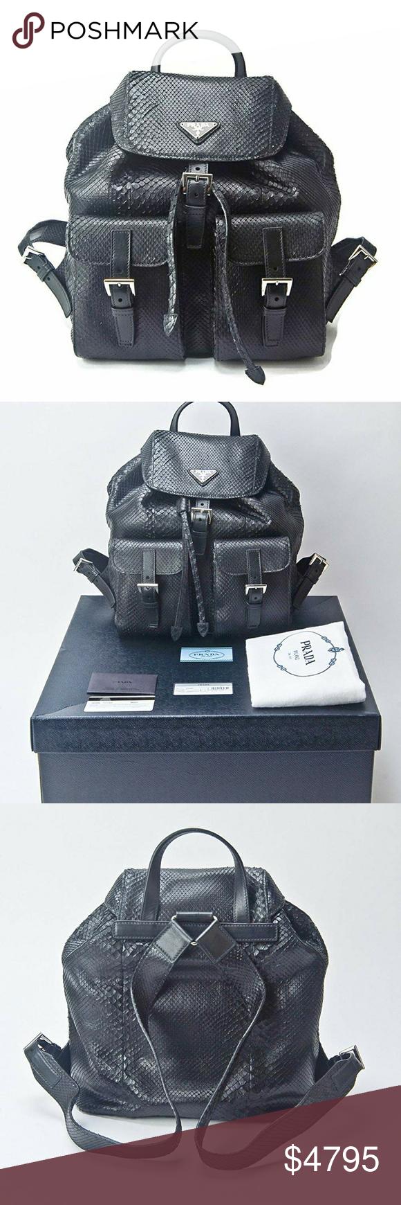 84a3db1b3122 Prada Black Genuine Python Snake Skin Backpack Prada Impossible To Find Black  Genuine Python Snake Skin Backpack Purse Bag - Current Season Sold Out Prada  ...