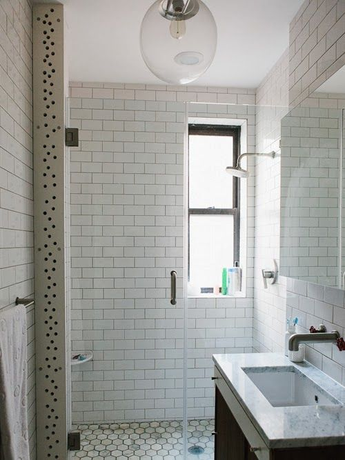Bathroom Subway Tile Dark Grout white+subway+tiled+shower+with+dark+grout+and+marble+honeycomb+