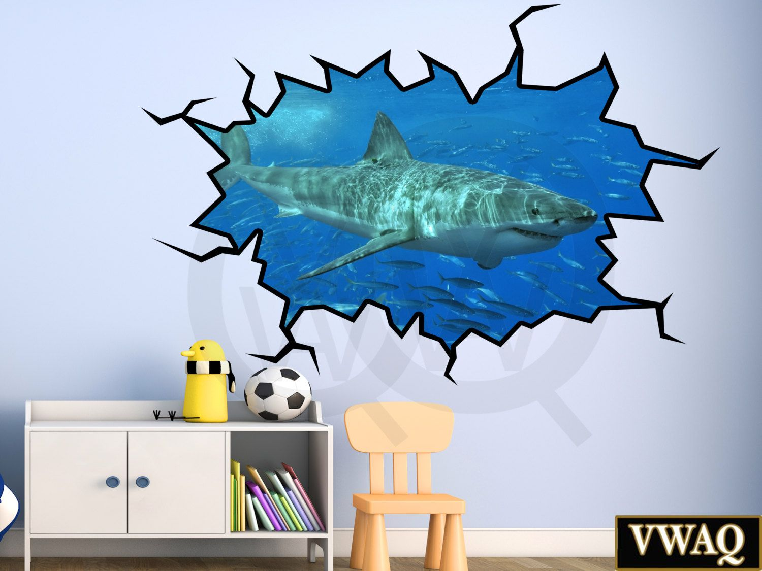 Superieur Shark Wall Decals 3D Wall Decal Great White Shark Wall Sticker Family Wall  Art Vinyl Peel And Stick Hole In The Wall Home Decor VWAQ WC17 | 3d Wall  Decals, ...