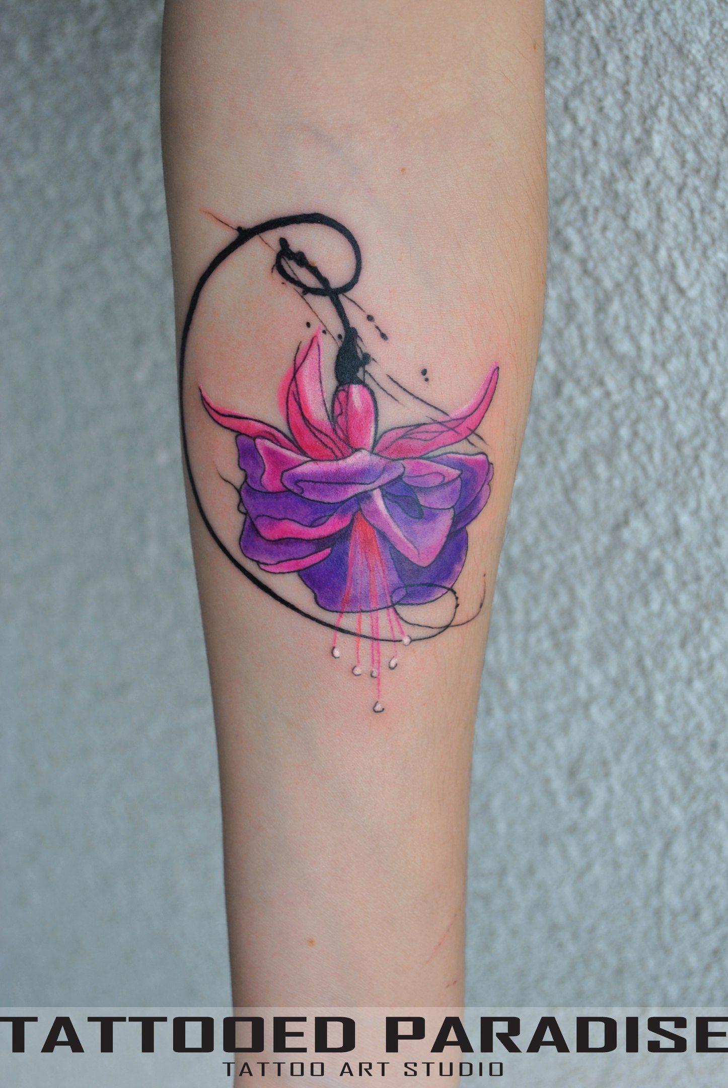 Fuchsia Flower Tattoo Tattooed Tattooedparadise Tattooedukraine Victoriadenske Ink Inked Watercolor Watercolortat Tattoos Lace Tattoo Tattoo Designs