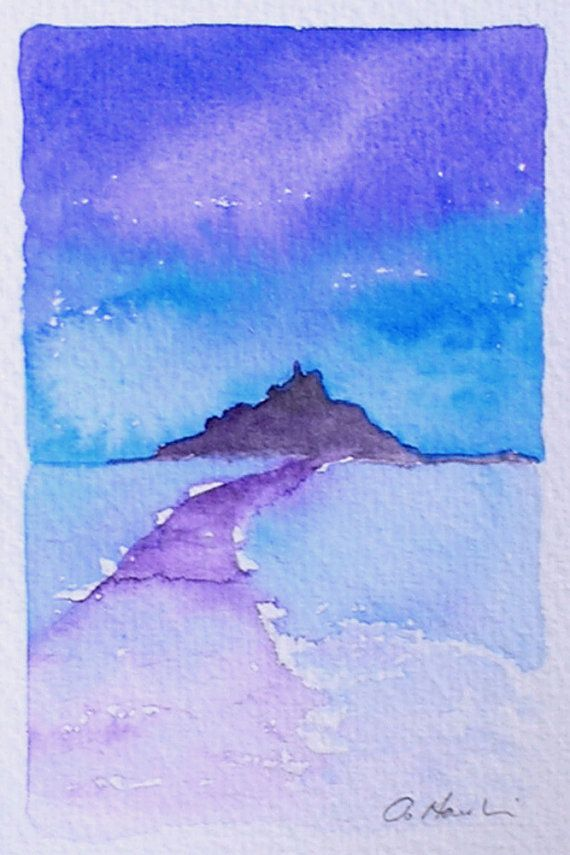 St Michael S Mount Small Watercolour By Theminervagallery On Etsy