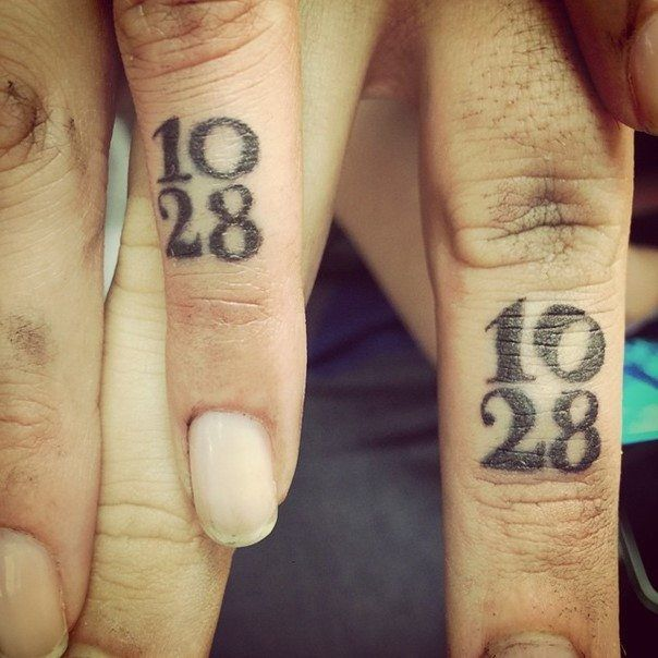 wedding ring tattoo with date