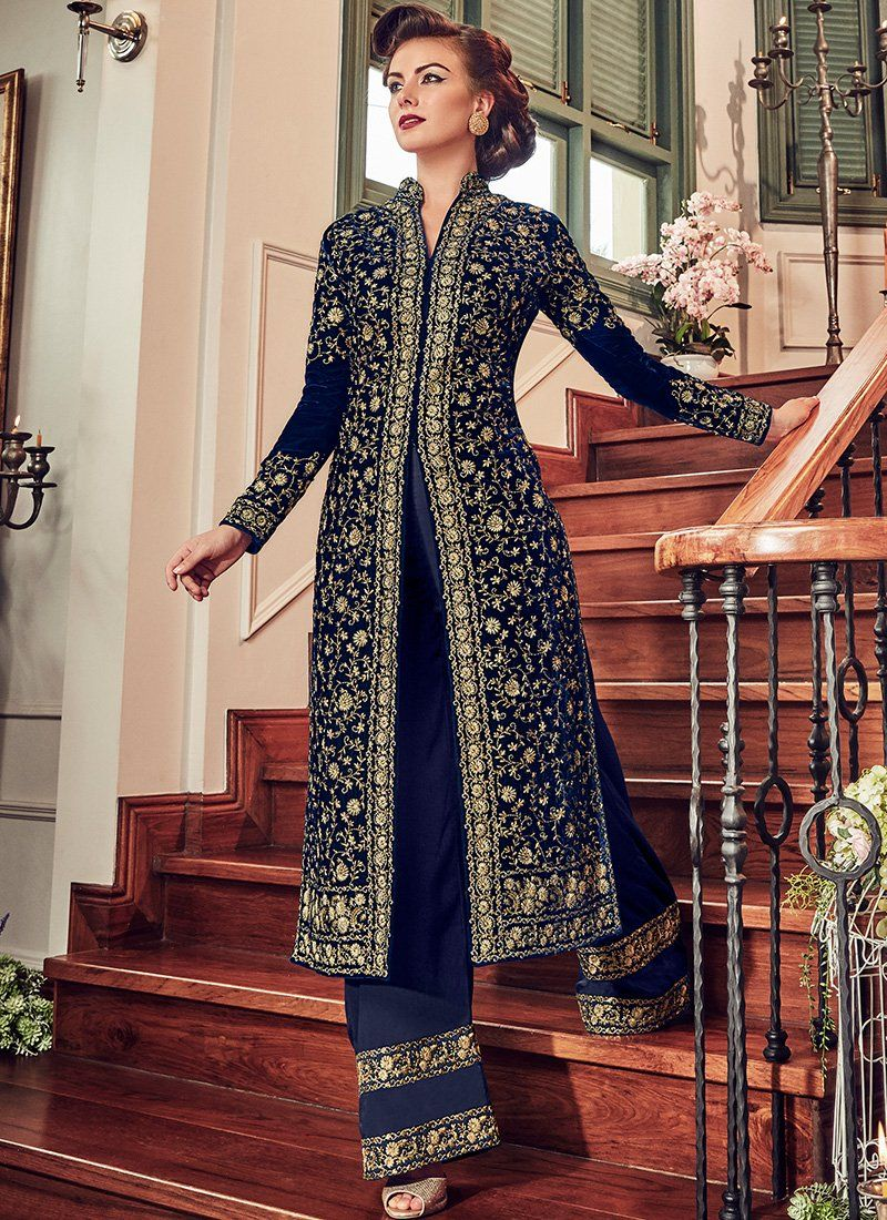 ff8bd17144 Dark Blue Velvet Embroidered Palazzo Suit in 2019 | Valima | Blue ...