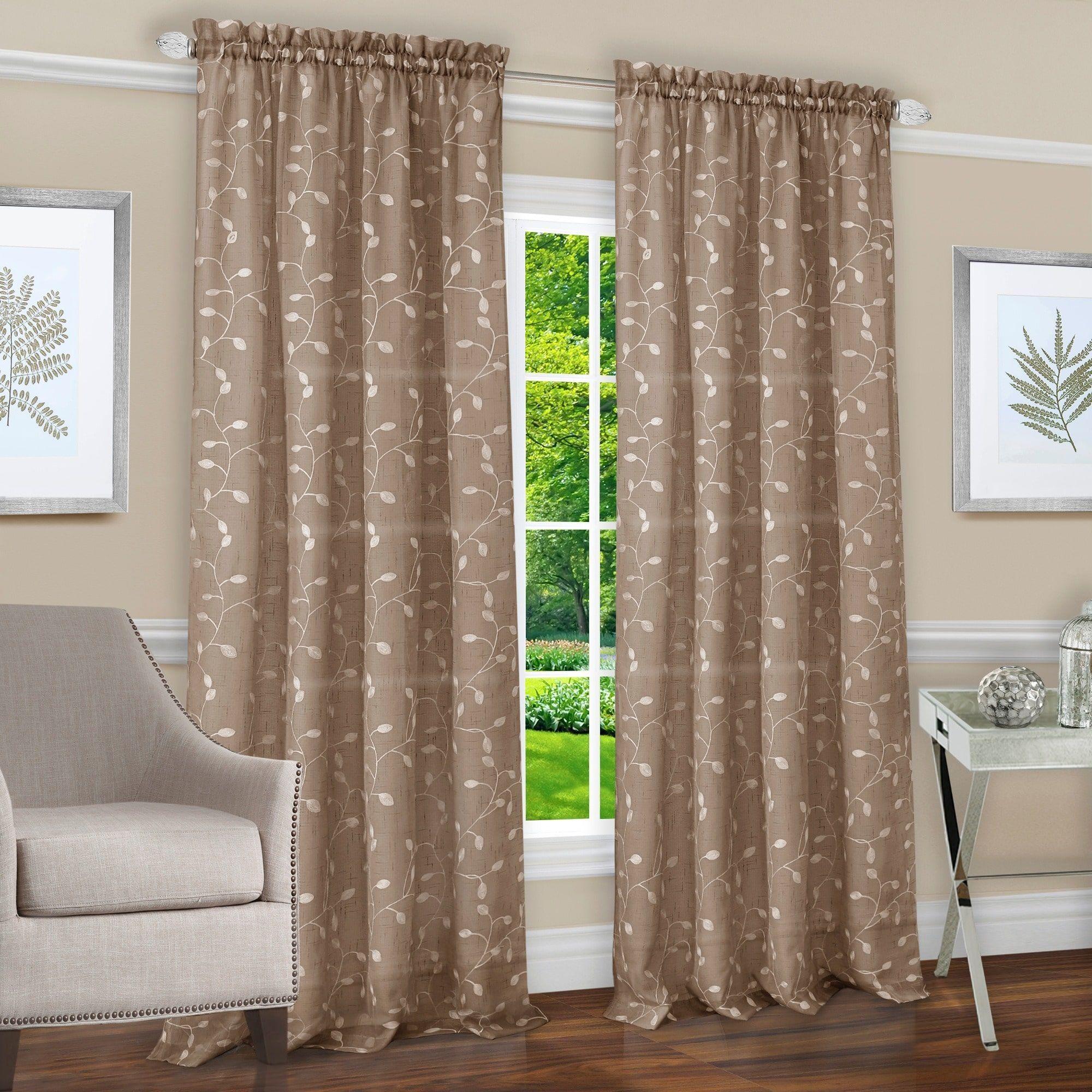 Achim chloe rod pocket window curtain panel inches taupe