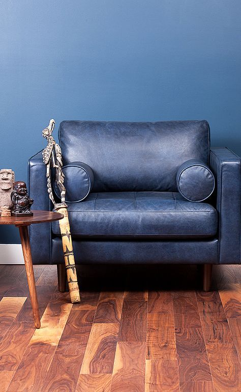 Sven Oxford Blue Chair With Images Blue Leather Chair Blue