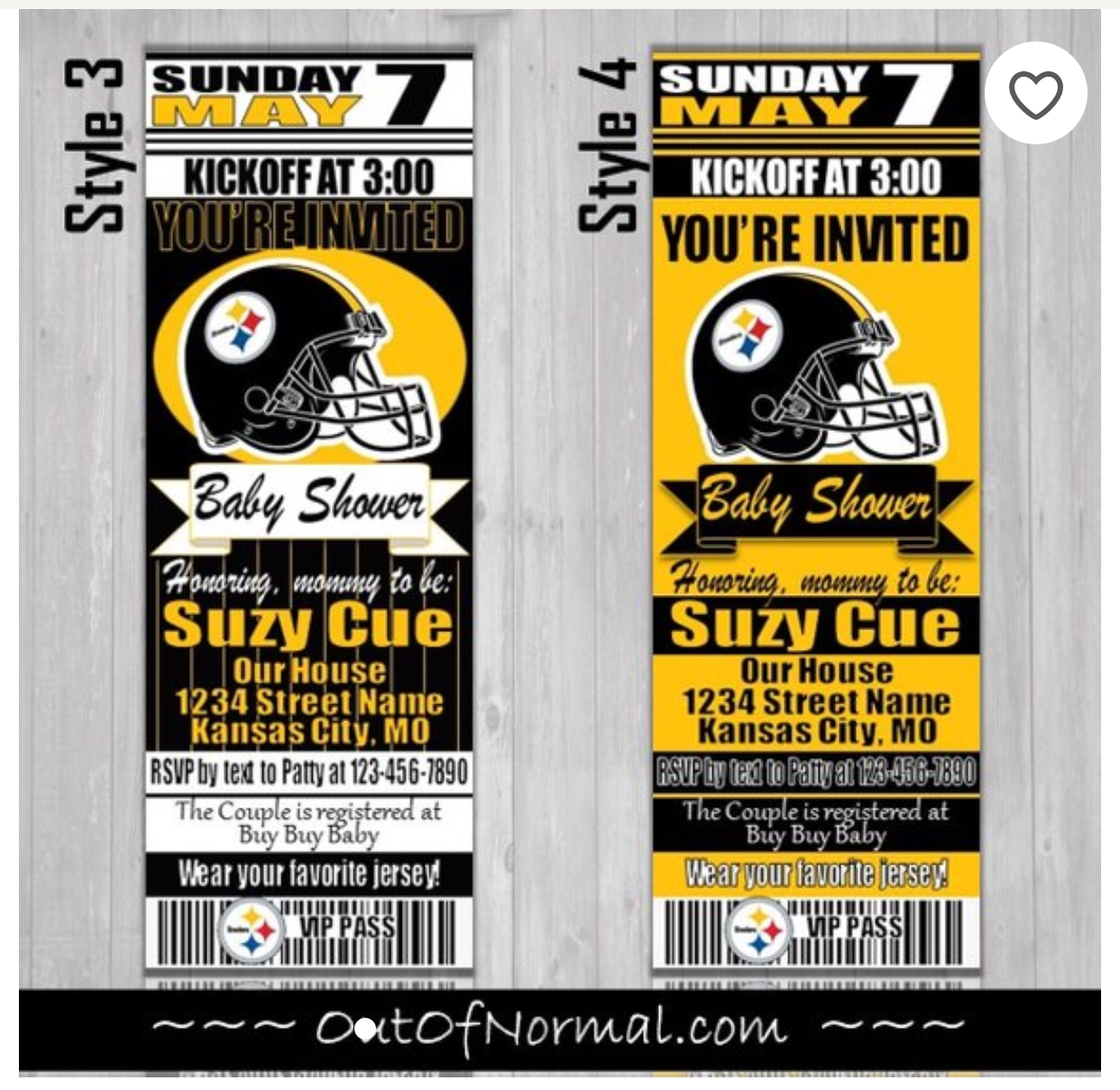 Pittsburgh Steelers Football Baby Shower Invitation Football