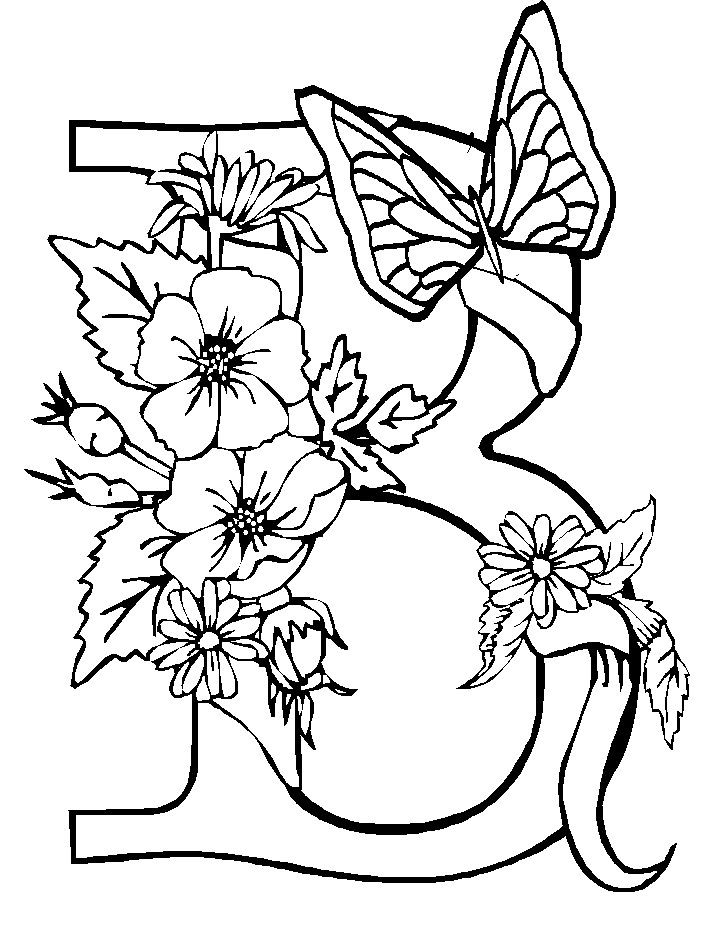 The Butterfly Upon Flowers Coloring Page | Butterfly ...