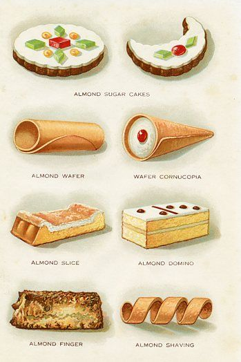 Almond Pastries 1920s   { l i t h o } in 2019   Almond pastry, Food