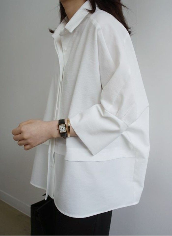 oversize womens clothing casual look in white shirt  1f93f6a3f