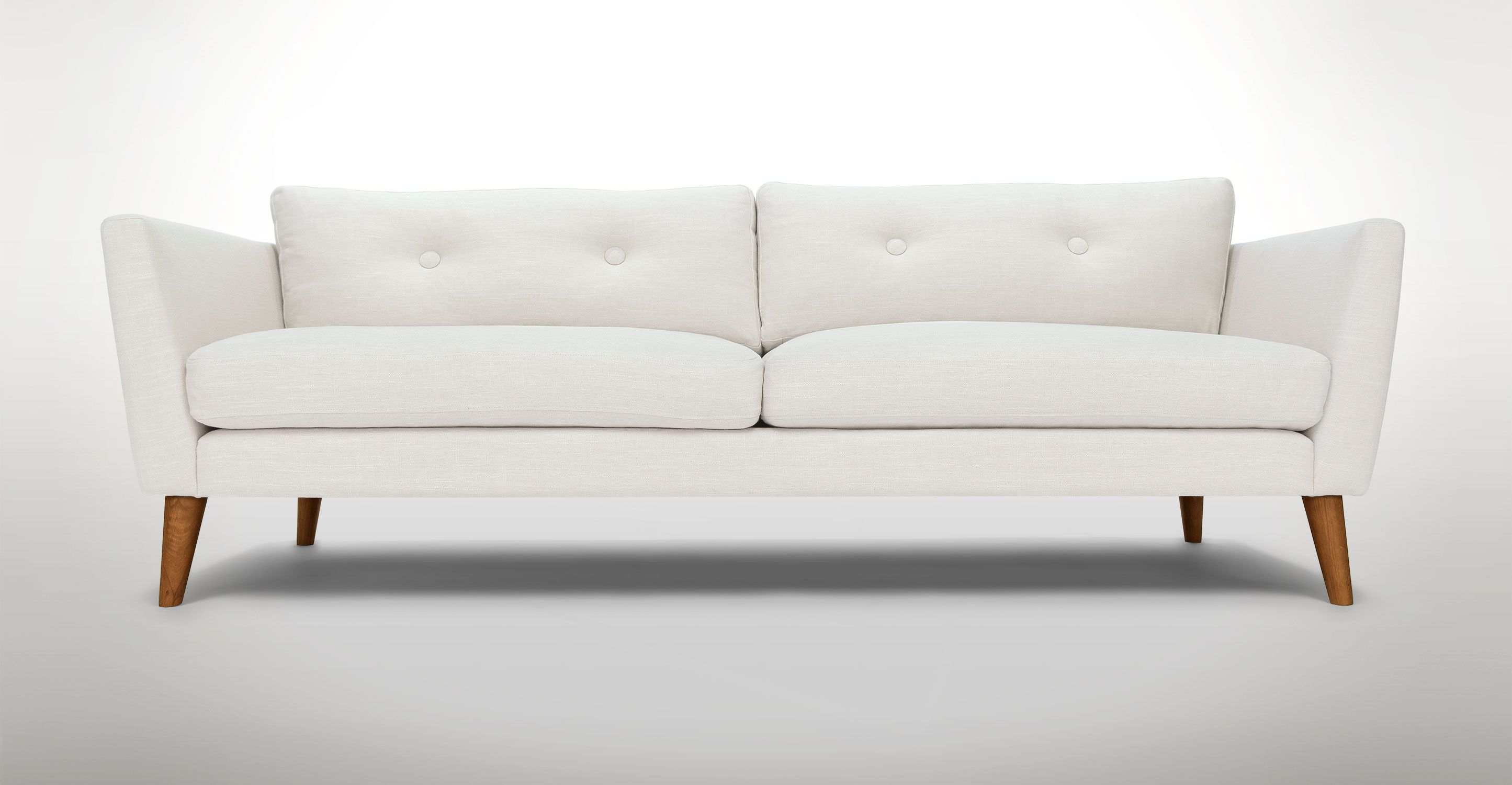 Canapé Relax Quartz White Tufted Sofa 3 Seater Solid Wood Legs Article Emil Modern