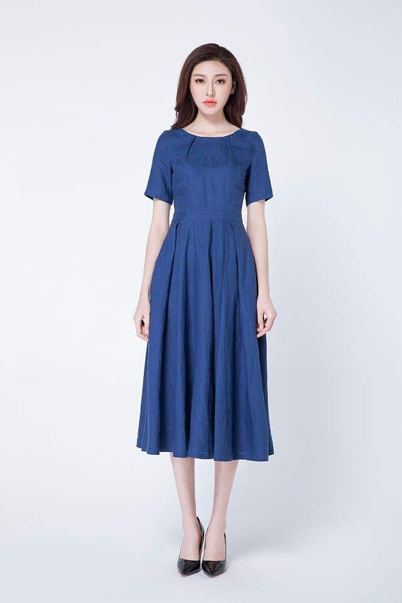 Vestido de lino vestido azul vestido de verano vestido