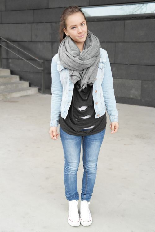 Jeans, chucks, dark tee, light jean jacket and a scarf! Cute and ...
