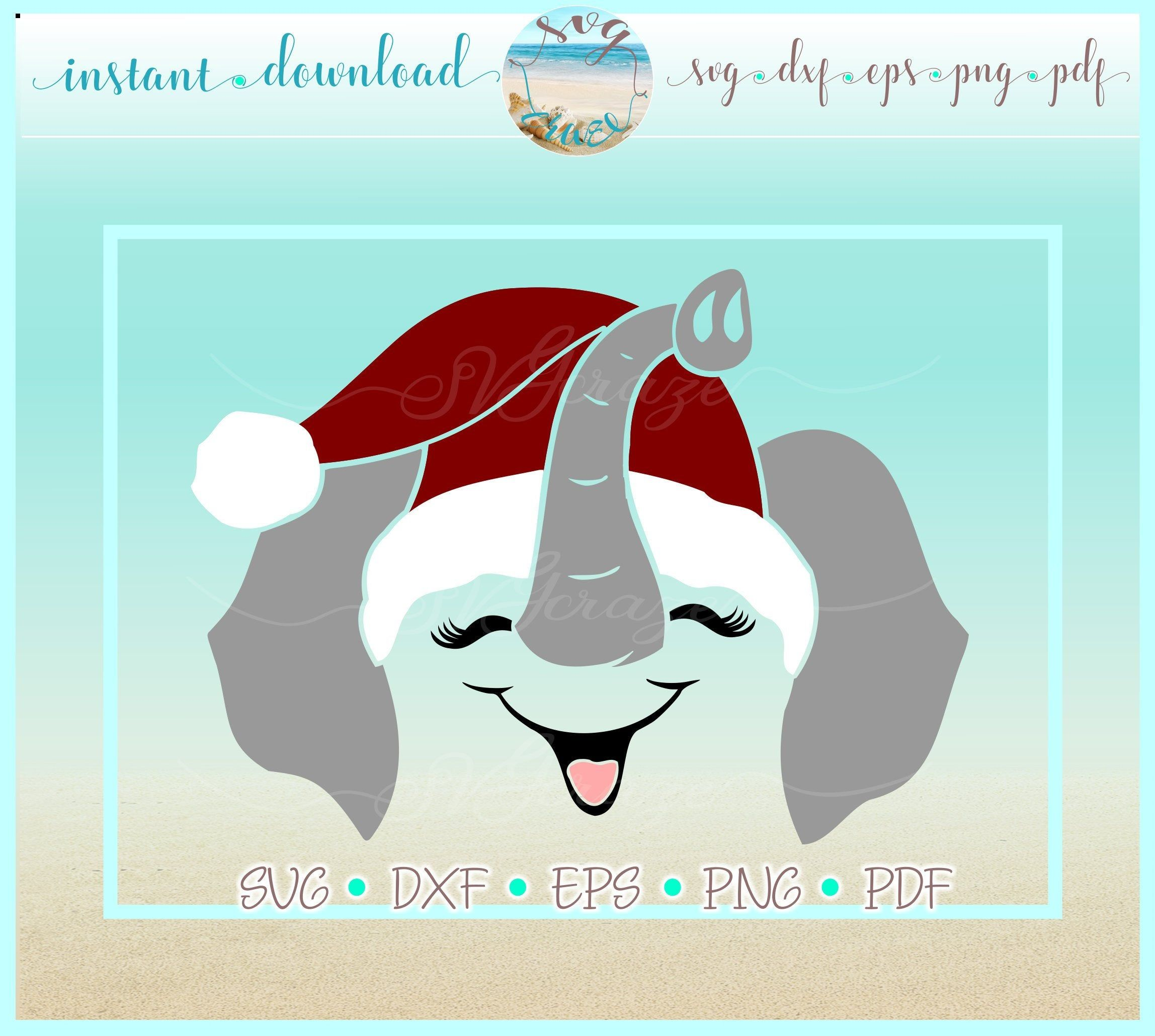 Elephant Face with Santa Hat SVG Dxf Eps Pdf PNG Files for