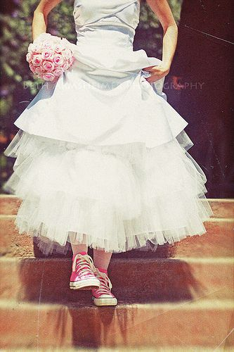 not gonna lie, i think i would love to wear converses at my wedding. probably not pink though:)  Yup...green