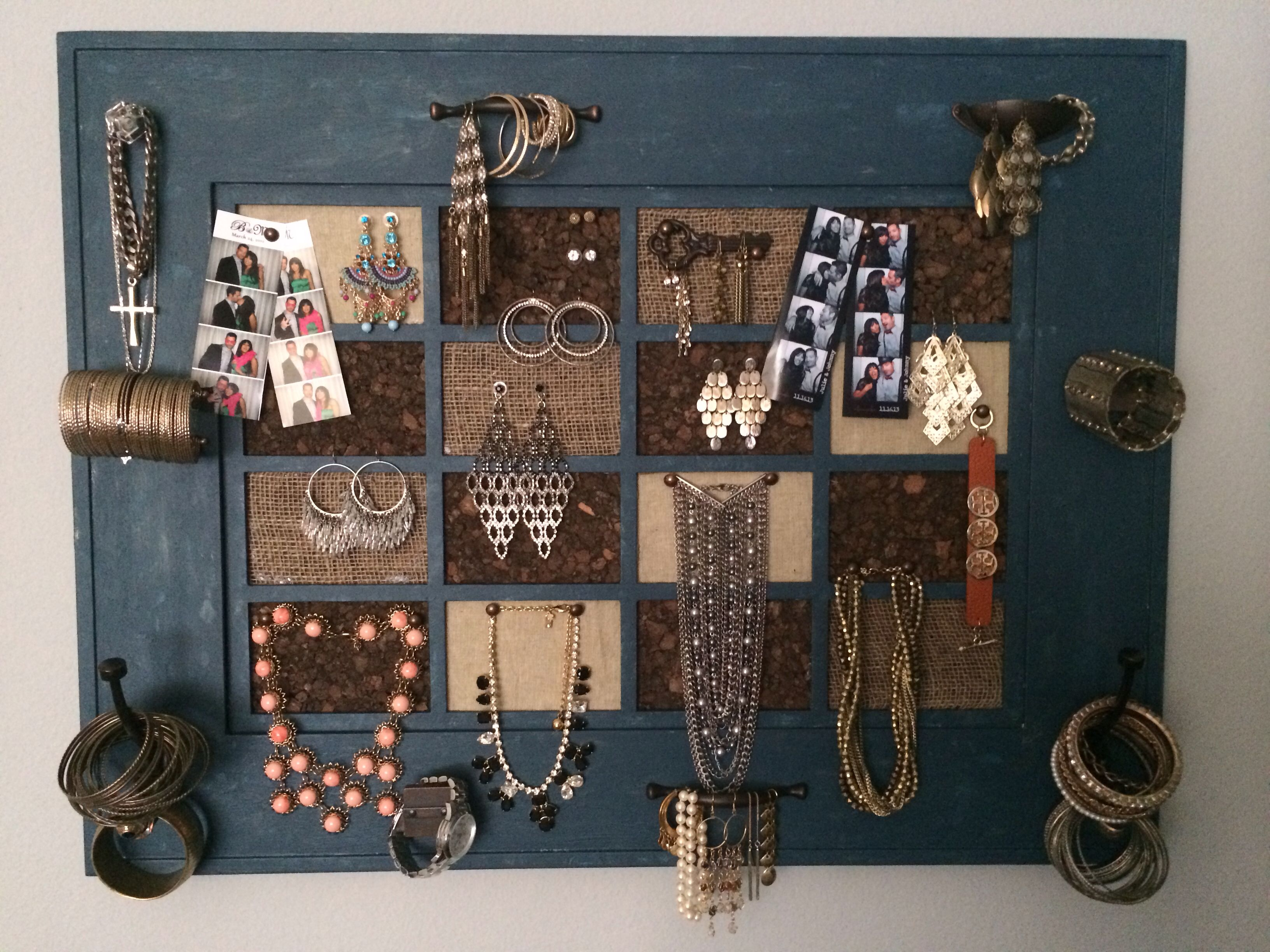 Jewelry organizer made with an old picture frame distressed and
