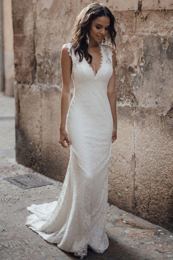[202.00] Winsome Beach / Destination Lace V-neck Neckline Mermaid Wedding Dresses  - magbridal.com.cn