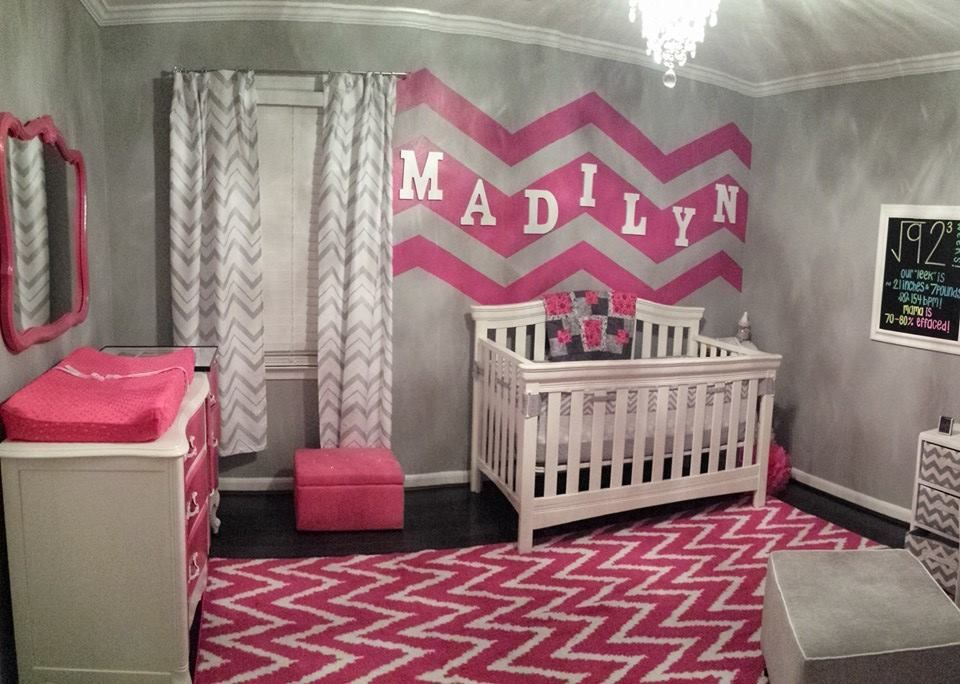 gray white and hot pink chevron nursery