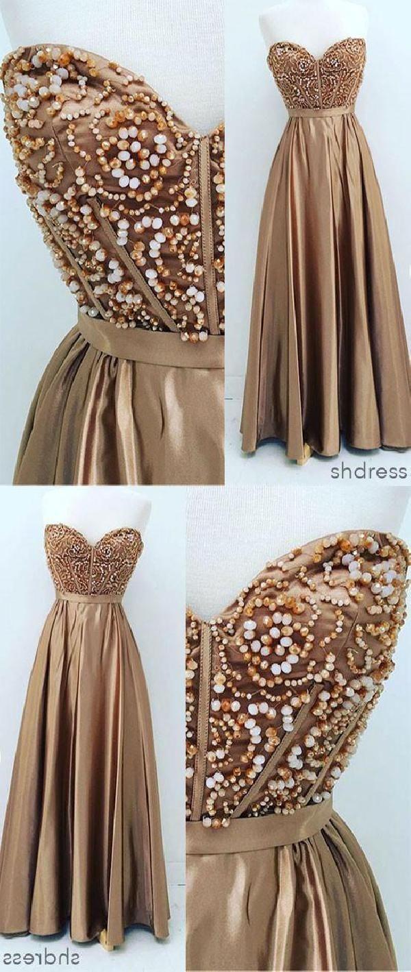 Customized fine long prom dresses gold sweetheart neck beaded long