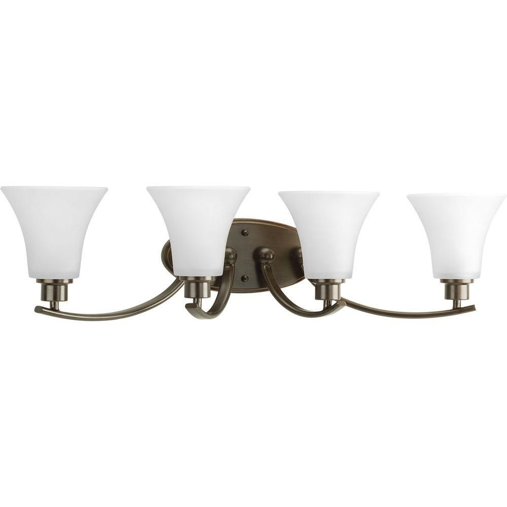 Photo of Progress Lighting Joy Collection 2-Light Brushed Nickel Bathroom Vanity Light with Glass Shades P2001-09 – The Home Depot