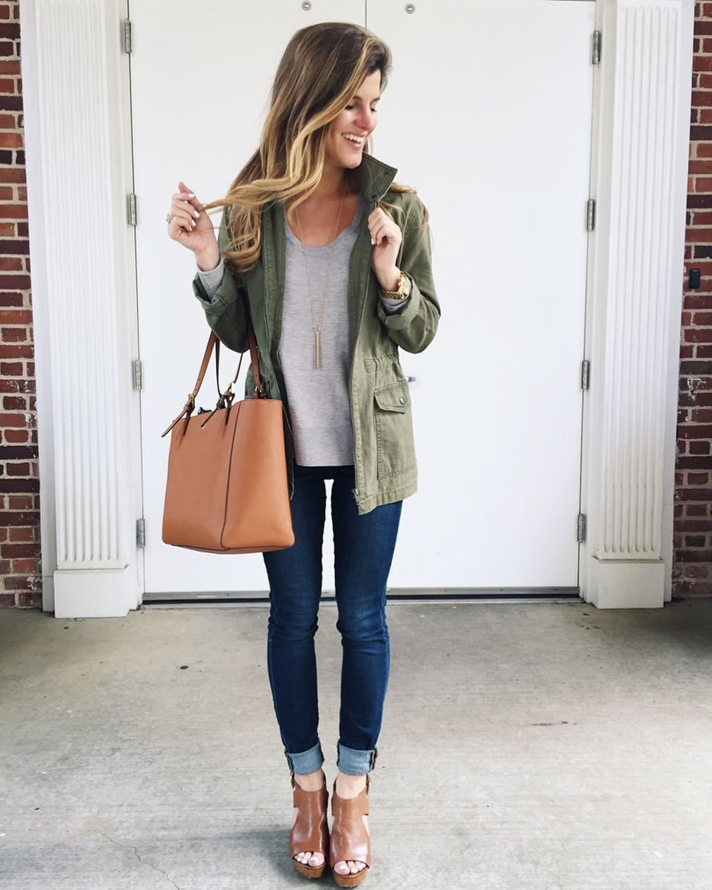 0b4fcff9cb3  brightonkeller  OOTD wearing grey sweater utility jacket blue jeans and  cognac wedges