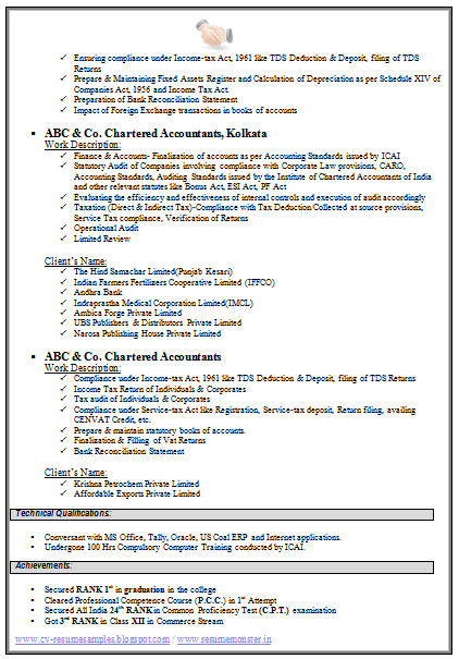 Chartered Accountant Resume Format Freshers (Page 2)  Us Resume Format