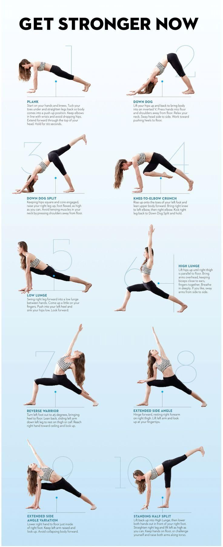 The best yoga workout to build strength from Tara Stiles - Do Tara's routine four times a week for a total-body, fat-blasting workout. Hold each pose for five breaths, unless otherwise noted. When you finish the sequence on the right side, repeat on your left. #FitLiving