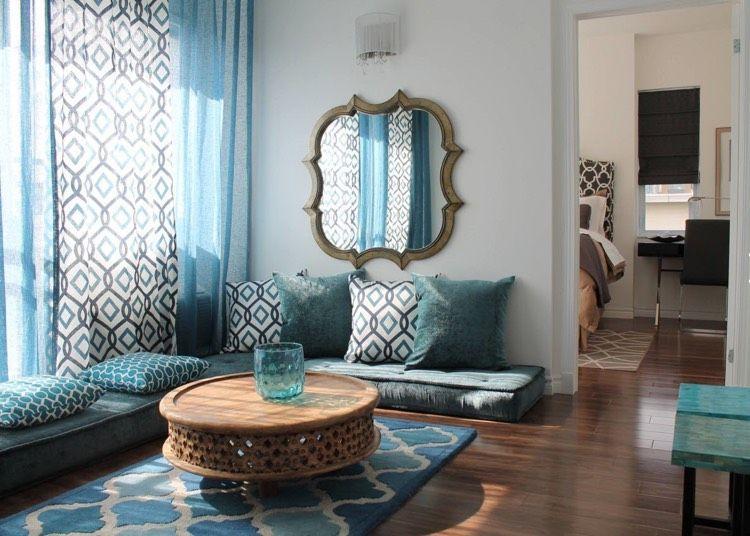 wohnzimmer-marokkanisch-türkis-weiss-holz Wohnzimmer Pinterest