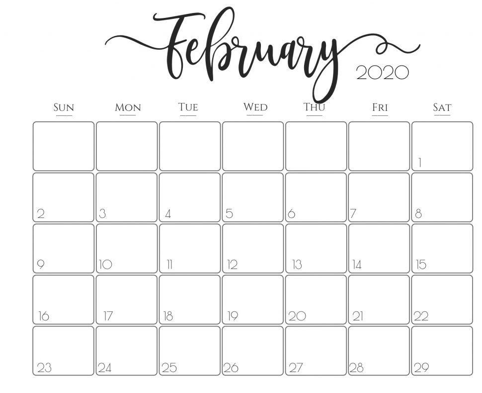 Cute February 2020 Calendar For Daily Routine Reminder With