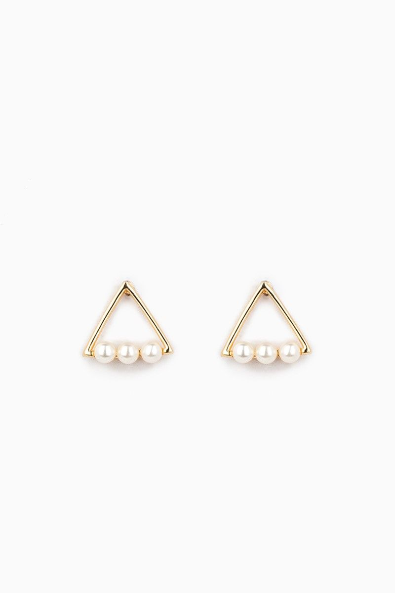 Un Deux Trois Pearl Gold Earrings