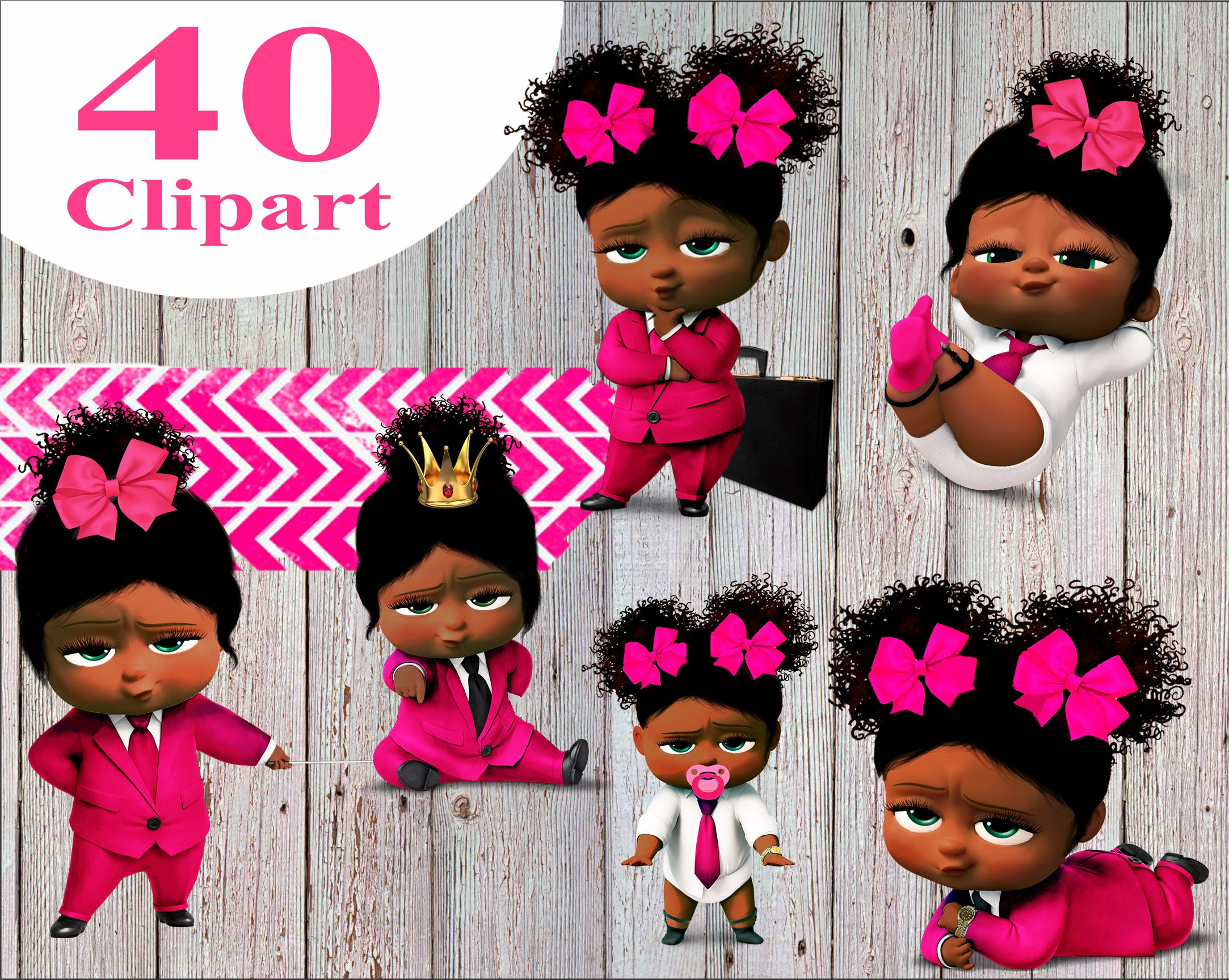 African American Boss Baby Clipart