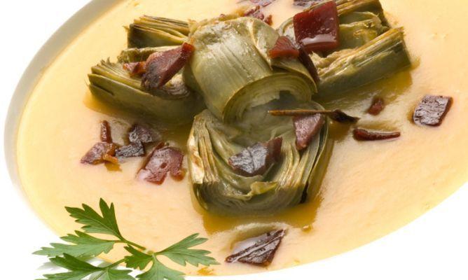 Receta De Alcachofas Con Crema De Calabaza Y Jamón Karlos Arguiñano Receta Crema De Calabaza Recetas Con Verduras Platos De Verduras