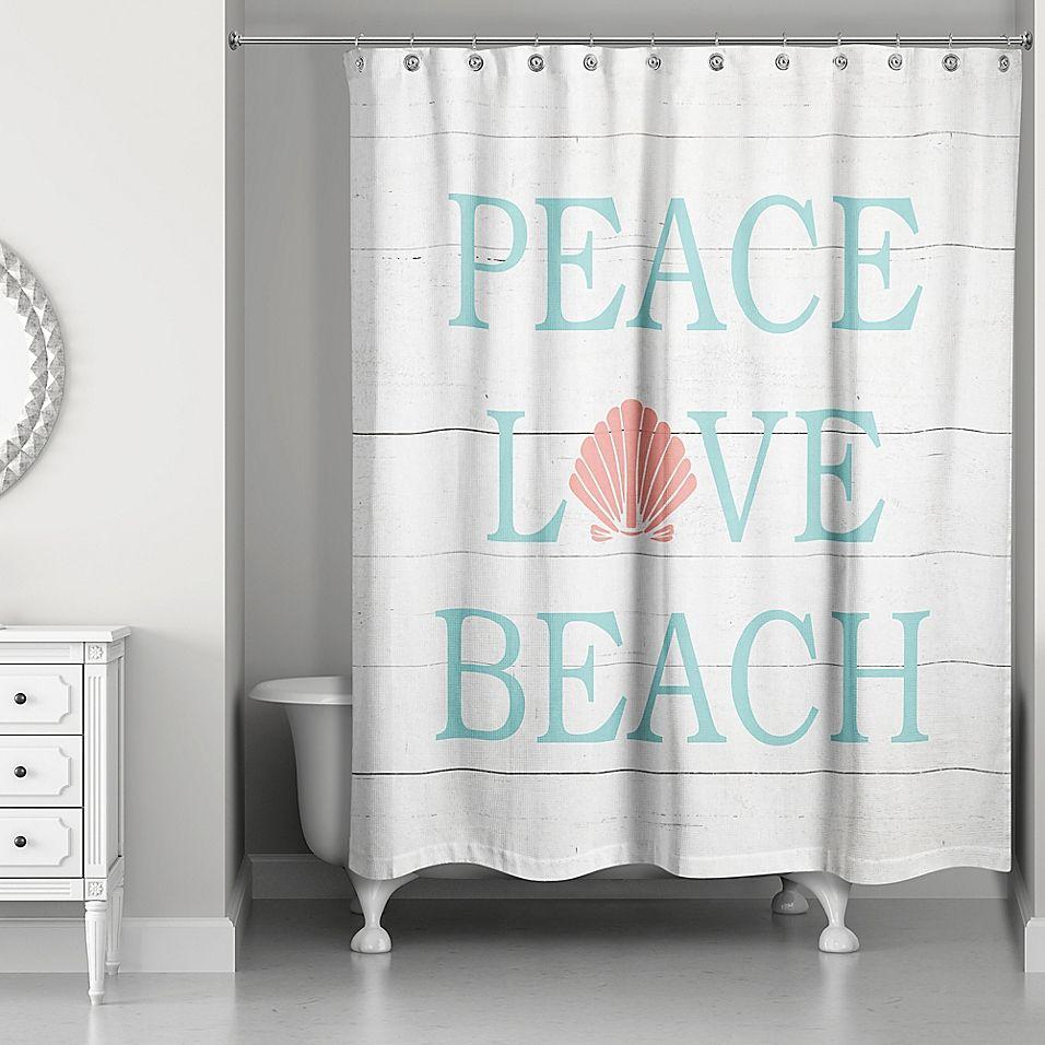 Designs Direct Peace Love Beach Shower Curtain In Aqua White