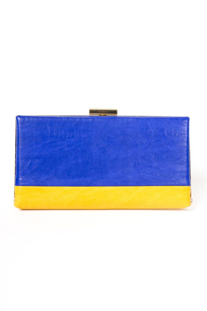 colorblock clutch wallet.