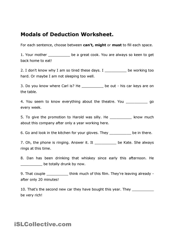 Modals of Deduction Worksheet | Modals | Worksheets, Deduction ...