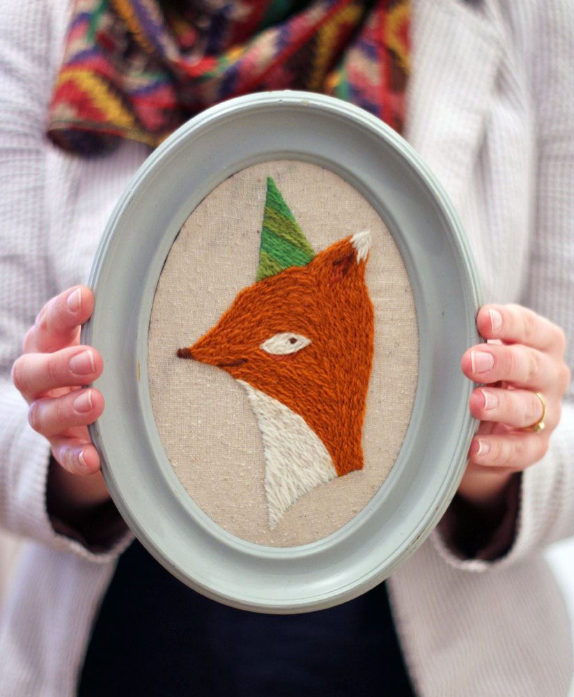DIY Embroidery Kit - Party Fox Crewel Embroidery Kit.