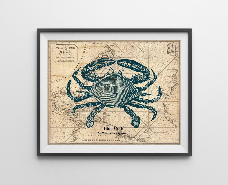Nautical Map Crab Art Print - Nautical Beach House Bathroom Art - Antique Vintage Ocean Map - Mixed Media - SKU: 622-C by BySamantha on Etsy https://www.etsy.com/listing/199263310/nautical-map-crab-art-print-nautical