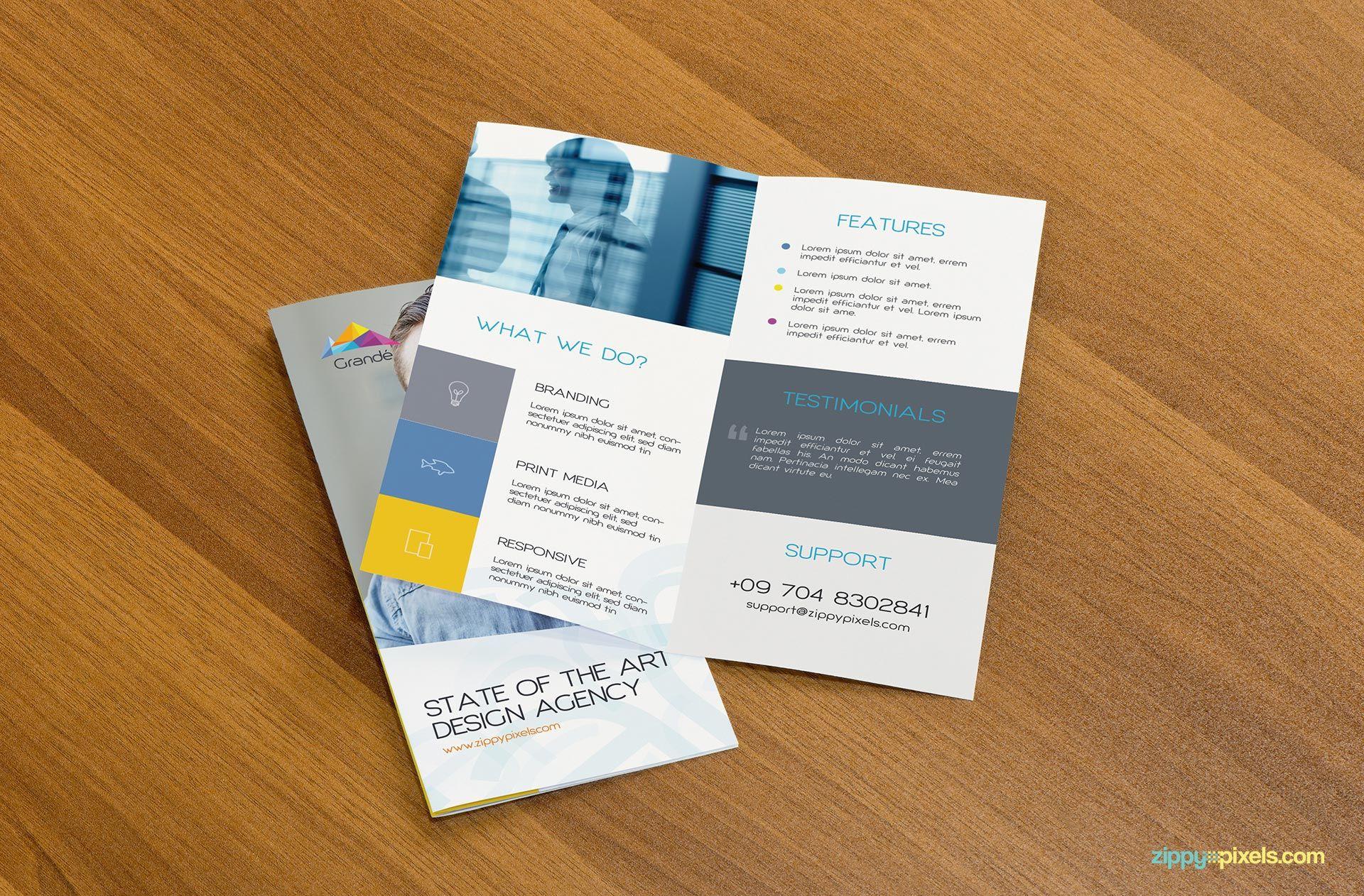 Menentukan warna per seksi · 5. Mockup Folder 3 Dobras Free Mockups Psd Template Design Assets