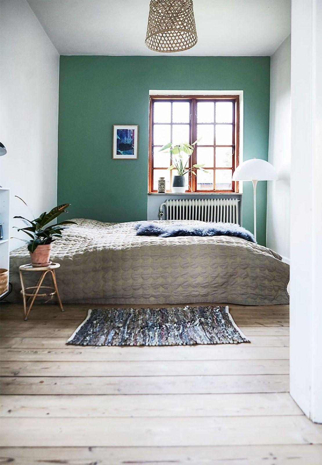 Cozy Scandinavian Villa Full Of Retro Design Green Bedroom Walls
